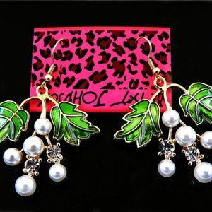 Betsey Johnson Pearl & Crystal Grape Earrings